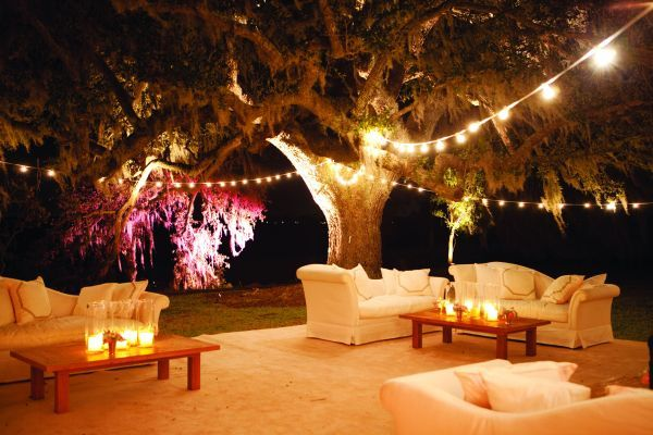 Outdoor Lounge with globe lights