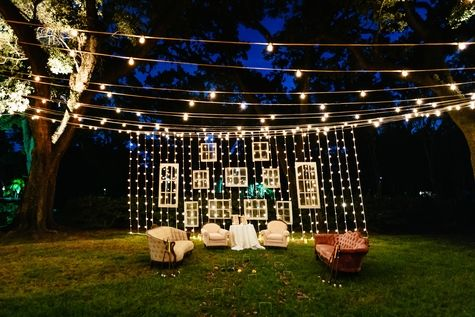 Outdoor Lounge area with fairy light curtain