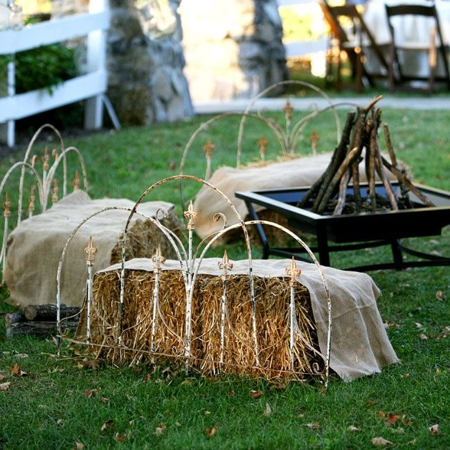 Outdoor Lounge using hay bales