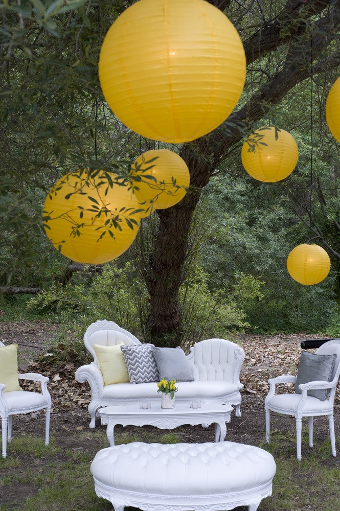 Outdoor Lounge with Chinese Lanterns