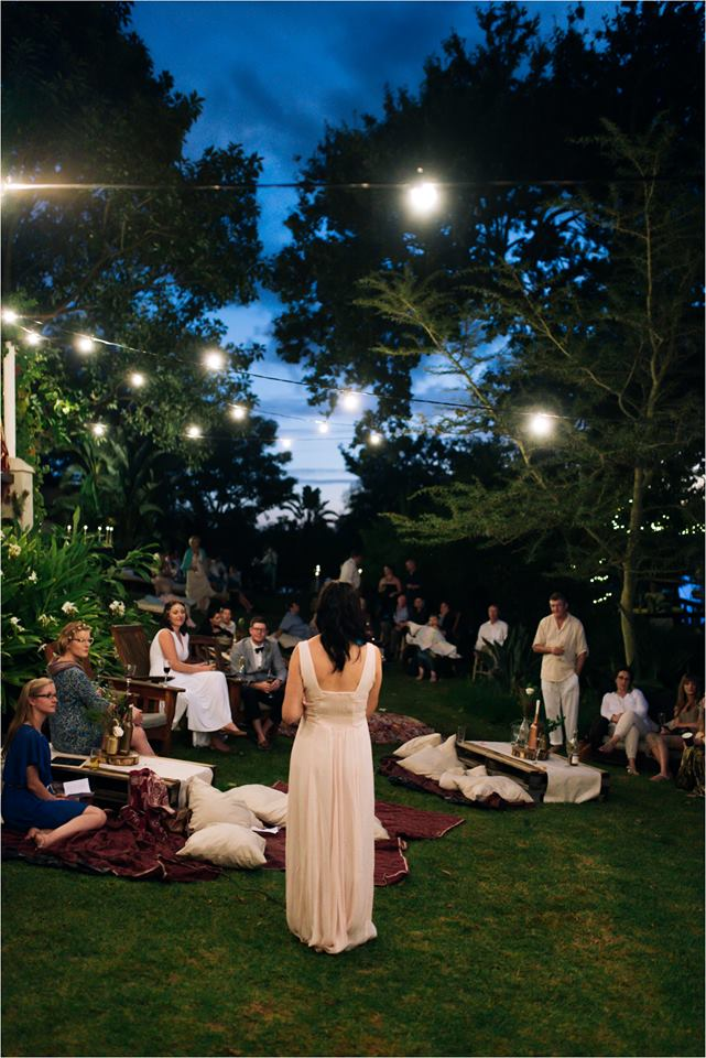 Outdoor function venue with globe light strings